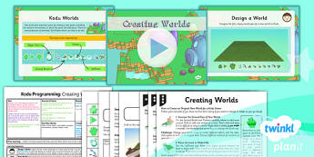 PlanIt Computing Year 6 Kodu Programming Lesson 3 Creating Worlds Lesson Pack - ks2, uks2, key stage, junior, computers, it, itc, ict, programme, program, software, skills, resources, display, presentation, planning, notes, idea, information, third,