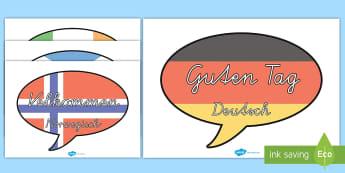 Fremdsprachen Sprechblasen Willkommen Poster für die Klassenraumgestaltung - Fremdsprachen Sprechblasen Willkommen Poster für die Klassenraumgestaltung, Fremdsprachen, Flaggen,