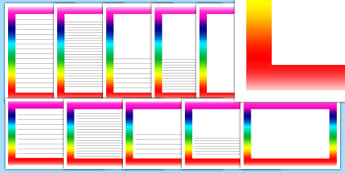 Rainbow Page Borders - literacy, writing, frame, rainbow, weather, colours