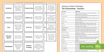 OCR Gateway Global Challenges (the Environment) Word Loops - Word Loops, quadrats, pooters, acid rain, abundance, genetic engineering, abiotic facors