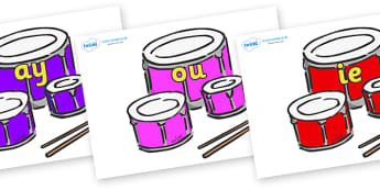 Phase 5 Phonemes on Drums - Phonemes, phoneme, Phase 5, Phase five, Foundation, Literacy, Letters and Sounds, DfES, display