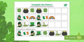 St. Patrick's Day Complete the Pattern Activity Sheet - EYFS, numeracy, Northern Ireland, Ireland, St. Patrick's Day, St. Patrick, Saint Patrick, Patterns,