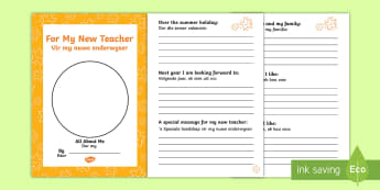 For My New Teacher English/Afrikaans - For My New Teacher Transition Booklet - transition, booklet, back to school, end of year, transition