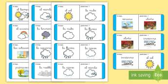 Tarjetas de buscar y emparejar: El tiempo - Tarjetas de emparejar, emparejar, parejas, tiempo, el tiempo, sol, nubes, lluvia, soleado, ,Spanish