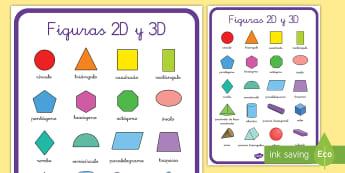 Póster DIN A2: Figuras 2D y 3D - figuras 2D, figuras 3D, mates, matemáticas, póster, mural, exponer, exposición, decorar, decoraci