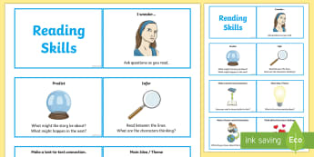 CfE Reading Skills Lanyard Cards - CfE Literacy, reading comprehension strategies, reading skills, flashcards, lanyard cards, guided re