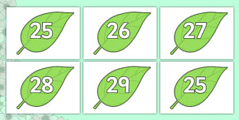Numbers 0-31 on Spring Leaves - 0-31, foundation stage numeracy, Number recognition, Number flashcards, counting, number frieze, Display numbers, number posters