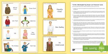 To Kill a Mockingbird Character Cards Pack - To Kill a Mockingbird, Atticus Finch, Scout Finch, Jem Finch, Dill, Calpurnia, Aunt Alexandra, Miss
