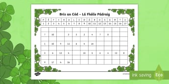 St. Patrick's Day Crack the Code Activity Sheet Gaeilge - ROI, St. Patrick's Day, Gaeilge, code, detective, work out, puzzle, solve,Irish