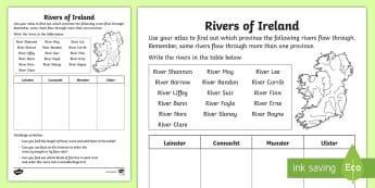 River of Ireland Activity Sheet - ROI - The World Around UsWAU, worksheet, rivers and lake, Irish