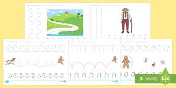 The Gingerbread Man Pencil Control Activity Sheets - Gingerbread Man, USA, Worksheets, motor skills, pen, write, draw, control