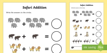 Safari Addition Sheet - safari themed, addition sheet, addition, addition worksheet, safari themed worksheet, safari themed addition sheet