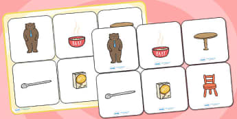 Goldilocks and the Three Bears Matching Cards and Board - goldilocks and the three bears, golidlocks picture matching game, goldilocks matching activity