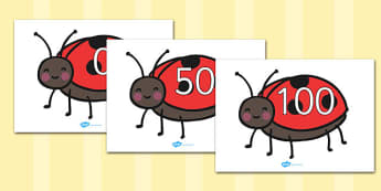 Numbers 0-100 on Ladybird to Support Teaching on What the Ladybird Heard - 0-100, foundation stage numeracy, Number recognition, Number flashcards, counting, number frieze, Display numbers, number posters