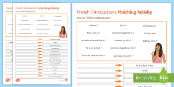Introductions Matching Differentiated Activity Sheet French  - French, Introductions, se présenter, présentation, self, oneself, moi, détails personnels, match,