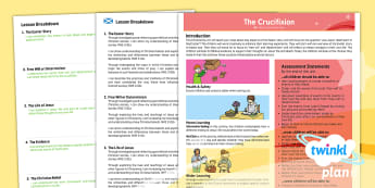 Second Level RME Year 6 The Crucifixion CfE  PlanIt Overview - CfE Planit Overviews, RME, Crucifixion, Easter, resurrection, Jesus, Holy Week, free will, determini