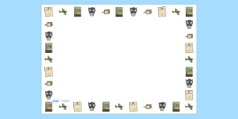 World War Two Full Page Borders (Landscape) - page border, border, frame, writing frame, writing template, history, world war 2, ww2, world war 2 page borders, world war 2 writing frames, writing aid, writing, A4 page, page edge, writing activities,