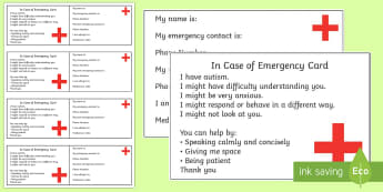 Autism In Case of Emergency Information Cards - Information Cards, ICE, in case of emergency, out and about, independence, autism, ASD
