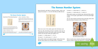 Roman Number System Information Sheet - CfE Numeracy and Mathematics, number, Roman Numerals, ancient number system, numeric system, past, i