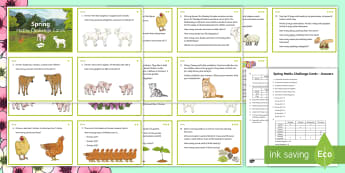Spring Math Challenge Cards - NI, Spring, addition, subtraction, ordering, comprehension, mental math, animals,  Primary 5, number