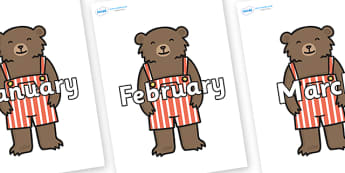 Months of the Year on Little Bear - Months of the Year, Months poster, Months display, display, poster, frieze, Months, month, January, February, March, April, May, June, July, August, September