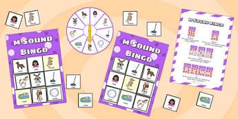 m Sound Bingo Game with Spinner - m, bingo, spinner, bingo game