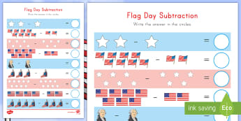 Flag Day Subtraction Activity - Flag Day, subtraction, George Washington, Betsy Ross, US flag, stars and stripes