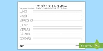 Ficha de formación de letras: Los días de la semana - días de la semana, semana, lunes, martes, miércoles, jueves, viernes, sábado, domingo, formación