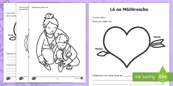 Mother's Day Irish Activity Sheet - Gaeilge-Irish - ROI- Mothers Day/ Lá na Maithreacha, Irish, Activity Sheet,Irish