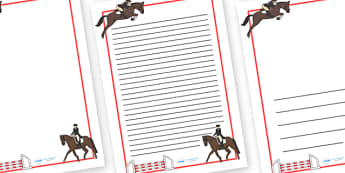 The Olympics Equestrian Page Borders - Equestrian, Olympics, Olympic Games, sports, Olympic, London, 2012, page border, border, writing template, writing aid, writing, activity, Olympic torch, events, flag, countries, medal, Olympic Rings, mascots, f