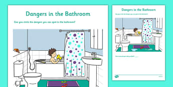 Dangers in the Bathroom Activity Sheet - CfE, Early Level, SHANARRI, safety, health and wellbeing, safety in the home, worksheet