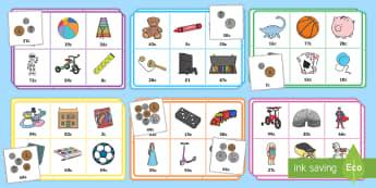 Bingo Y Siop Deganau - mathemateg, arian, rhifedd, siop, bingo, loto, arian blwyddyn 1, arian dosbarth derbyn, rheolaeth ar