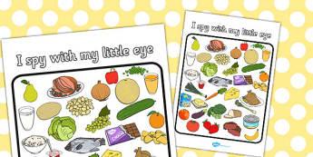 Food Themed I Spy With My Little Eye Activity - I spy, activity