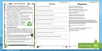 Ziua Pământului Fișe de lectură diferențiate - ziua pamantului, poluare, pamantul, protejeaza pamantul. salvati copacii, planteaza copaci, română