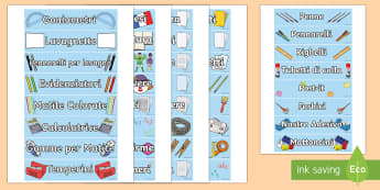Etichette del Materiale Scolastico - organizzazione, etichette, materiale, scolastico, scuola, italiano, italian