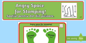 Angry Space For Stomping Sign and Mat English/Romanian  - Angry Space For Stomping Sign and Mat - anger, emotions, expression, emotion, spce, emtions, picture