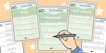Trace the Words Activity Sheets - trace, words, worksheet, hansel