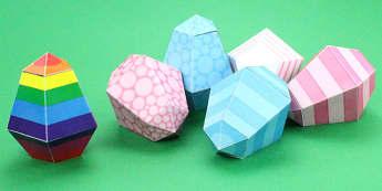 Easter Egg Paper Model - easter, egg, paper model, craft, model