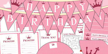 Princess Themed Birthday Party Pack - parties, birthdays, pack