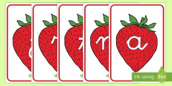 Tarjetas de fonemas: Fresas - lecto, leer, primeros sonidos, comida,Spanish, fruta