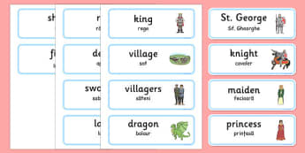 St George and the Dragon Story Word Cards Romanian Translation - romanian, St George, princess, maiden, dragon, Margaret Hodges, word card, flashcards, cards, king, story book, book, book resources, story