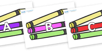 A-Z Alphabet on Crayons - A-Z, A4, display, Alphabet frieze, Display letters, Letter posters, A-Z letters, Alphabet flashcards
