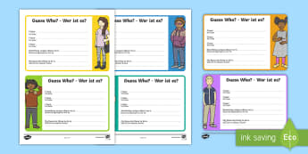 Transition Guess Who Activity English/German - transition activity, class activity, bump up day,