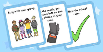 School Trip Rules Cards - school trip, rules, cards, rules cards