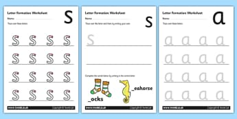 Letter S Formation - phase two, phase 2, letter formation, letter formation worksheet, phase two worksheet, letter worksheet