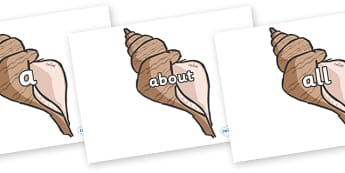 100 High Frequency Words on Sea Shells - High frequency words, hfw, DfES Letters and Sounds, Letters and Sounds, display words