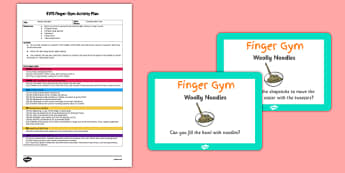 EYFS Woolly Noodles Finger Gym Activity Plan and Prompt Card Pack - eyfs, woolly, noodle, finger gym