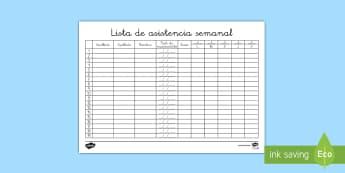 Lista de asistencia semanal - Lista, asistencia, semanal, semana,Spanish