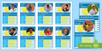 Roland Garros Themed Top Cards Game French - tennis, numbers, countries, skills, speaking, reading,French