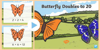 Butterfly Doubles to 20 PowerPoint - double, doubling, doubles, butterfly, butterflies, double the digits, double to 20